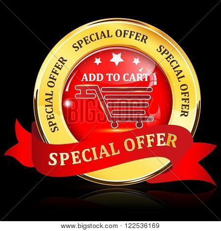Special Offer golden red shiny glossy web button / icon with ribbon, on a black background.    Add to cart. Contains a sho
