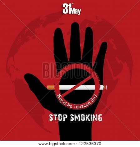 Illustration of Black hand with word stop smoking on red background