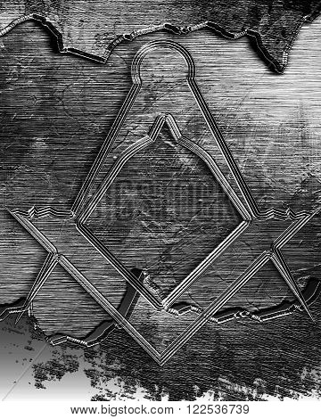 Masonic square and compass with some soft highlights
