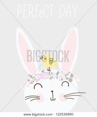 cute vector rabbit with bird flowers illustration
