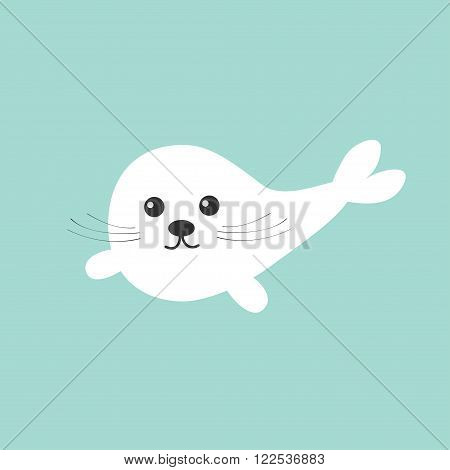 Harp baby seal pup with mustaches. Cute cartoon character. Blue background. Flat design Vector illustration