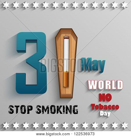 Illustration of World No Tobacco Day with stylish text and cigarette over wood on gray background
