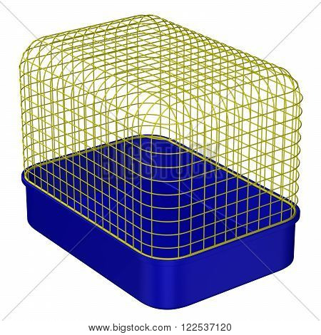 Pet Cage isolated on white background. 3D render.