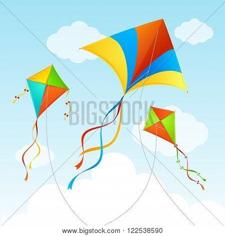 Fly Kite in Sky. Summer Background. Vector illustration