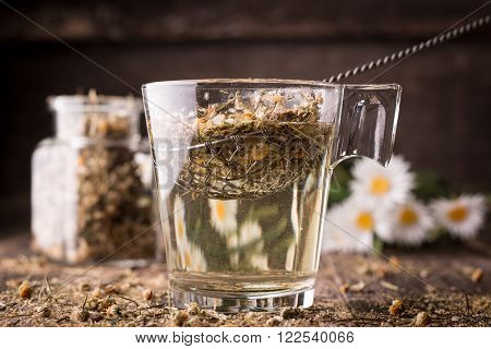 Mix Of Healthy Herbal Tea On Vintage Wooden Background