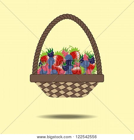 Basket with berries. Strawberry raspberry blueberry dewberry. Vector illustration