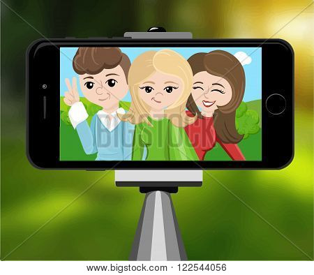 stick for selfie. Monopod Selfie shots cartoon vector illustration.Young couple making self portrait. Selfie stick concept vector illustration selfie