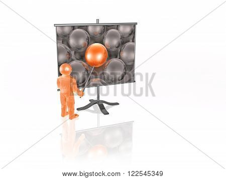 Man with presentation stand on white background.
