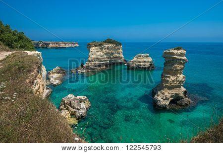 Torre Sant'andrea, Rocky Beach In Puglia, Italy