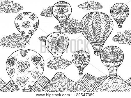 Hot air balloon flying, zentangle stylized for coloring book for anti stress for both adult and children - stock vector
