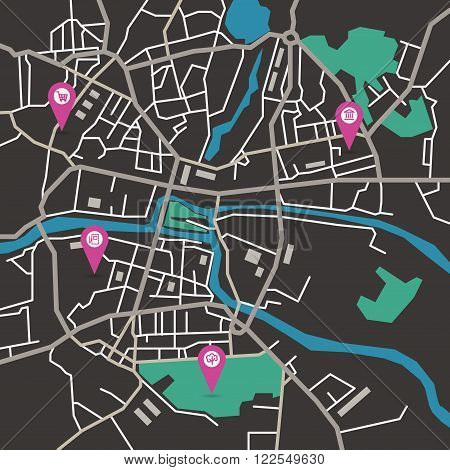Vector flat abstract city map with pin pointers and infrastructure icons, dark colors