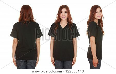 young beautiful female with blank black t-shirt isolated on white background