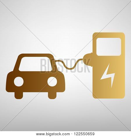 Electrocar battery charging sign. Flat style icon with golden gradient