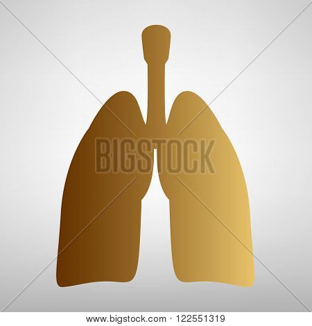 Human organs. Lungs sign. Flat style icon with golden gradient