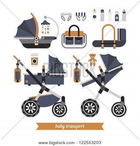 Baby stroller transformer. Vector baby stroller set. Newborn stuff for walking. Things you need to transport the child and walks with a newborn. Baby stroller three in one.