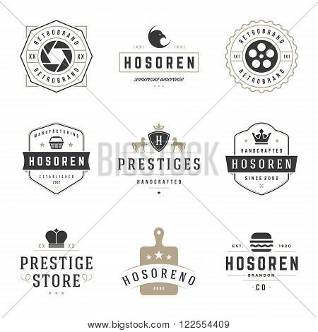 Vintage Logos Design Templates Set. Vector logotypes elements collection, Icons Symbols, Retro Labels, Badges, Silhouettes.