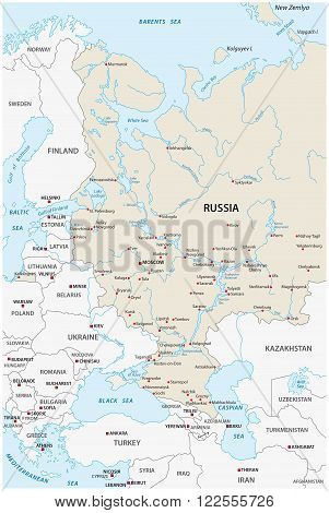 map of the European part of the Russian federation