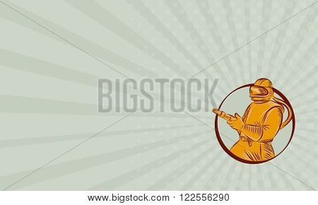 Business card showing Etching engraving handmade style illustration of a sandblaster worker holding sandblasting hose wearing helmet visor viewed from front set inside circle on isolated background.