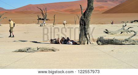 Tourist In Deadvlei, Namib-naukluft National Park, Namibia, Africa