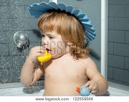 Playful Boy In Bath