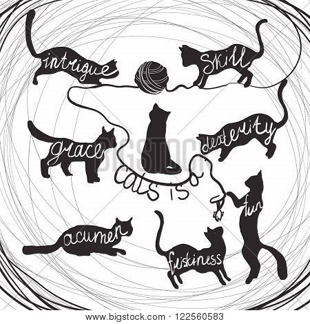 Cat quotes calligraphy lettering set on black cats silhouette. Vector illustration. Cat is a intrigue, grace, acumen, skill, dexterity, fun, friskiness