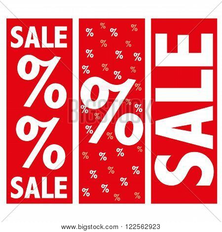 red percentage discount signs for business sale