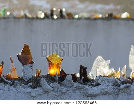 Wall Topped With Broken Glass