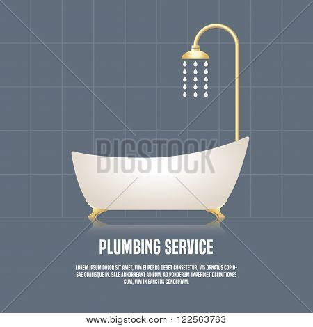 Vector illustration of bathtub made in eyecatching style. Plumbing service concept illustration. Design element logotype for a shop product or company