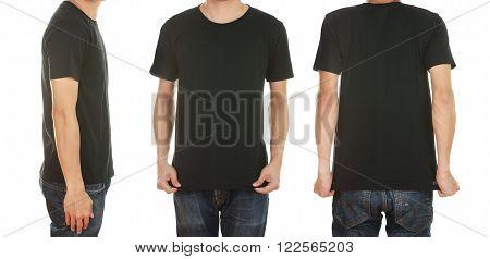 man with blank orange t-shirt isolated on white background