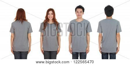 Man And Woman With Blank Black T-shirt