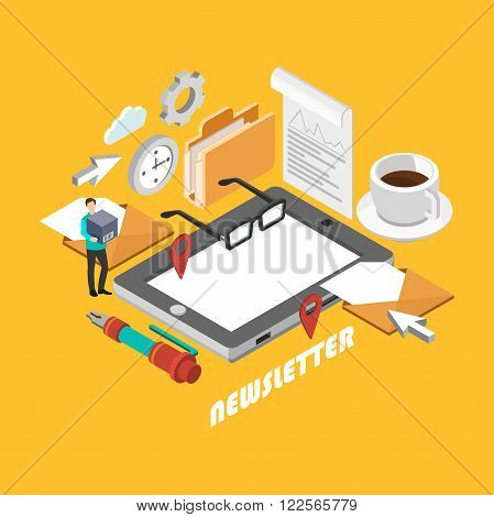 Isometric newsletter concept. Flat poster with notation and markers. Vector illustration