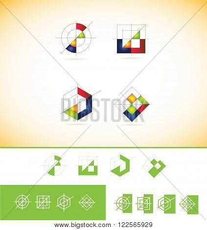 Vector company logo icon element template geometric geometry unfinished circle square polygon rhombus colors colored red green onrage blue