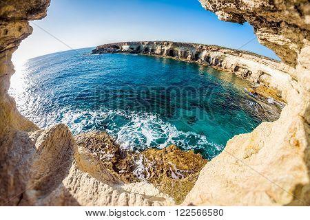 Sea caves near Cape Greko. Mediterranean Sea. Cyprus.