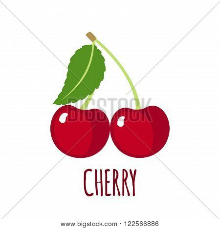 Cherry in flat style. Cherry vector logo. Cherry icon. Isolated object. Natural food. Vector illustration. Cherry on white background