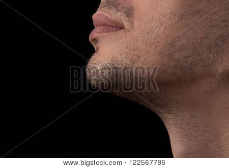 Closeup shaven chin of a young man