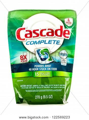 Winneconne WI - 18 August 2015: Bag of Cascade Complete action pacs with Dawn