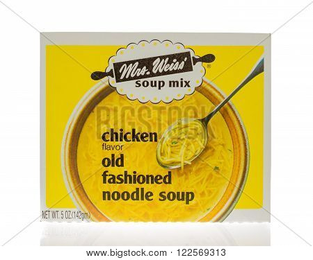 Winneconne WI - 18 Nov 2015: Box of Mrs. Weiss soup mix in chicken noodle flavor.