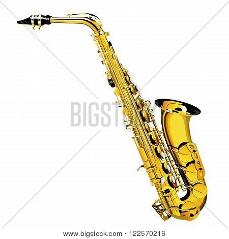 a detailed illustration of a gold saxophone