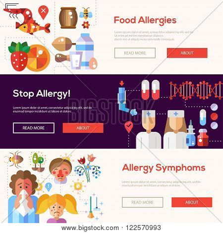 Set of vector flat design allergy and allergen banners, headers with icons and infographics elements