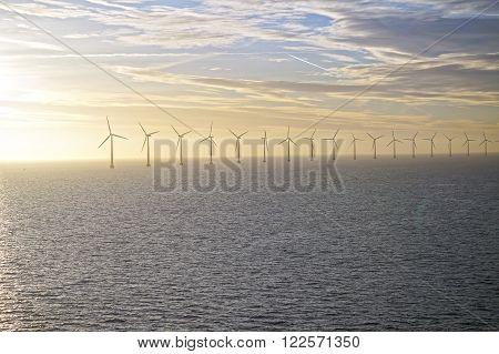 Middelgrunden: an offshore wind farm in the Oresund 3.5 km outside Copenhagen, Denmark. January 05, 2013 poster