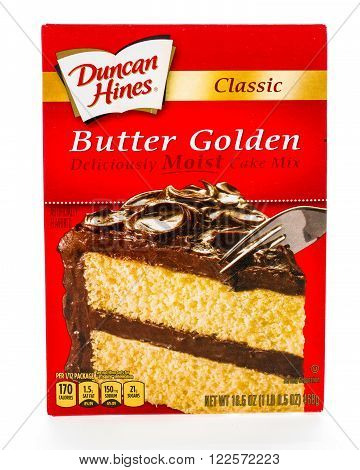 Winneconne WI - 8 February 2015: Box of Duncan Hines Classic Butter Golden cake mix.