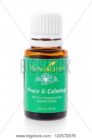 Winneconne WI - 19 February 2015: Bottle of Young Living Peace & Calming essential oil supplement.