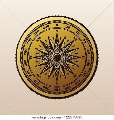 Vintage compass wind rose symbol. Compass logo. Compass rose, marine emblem with wind rose, retro ornament compass rose, vector illustration