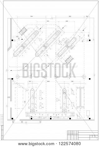 design architectural vector photo free trial bigstock House Structure Diagram design architectural plan or project technical drawing construction plan with vertical frame on the white background