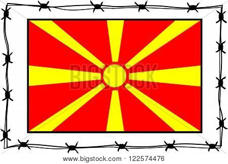macedonia flag surrounded by barbed wire border