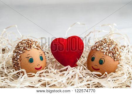 diy handmade little men from eggs and red heart
