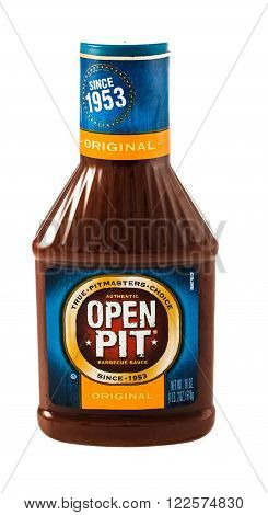 Winneconne WI - 5 February 2015: Bottle of Open Pit barbecue sauce. Open pit was created in 1953 and owned by Pinnacle foods.