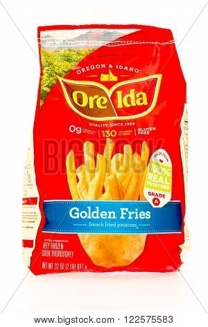 Winneconne WI - 29 August 2015: Bag of Ore Ida golden fries made from 100% potatoes.