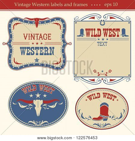 Western Labels.vector Symbols And Boards For Text