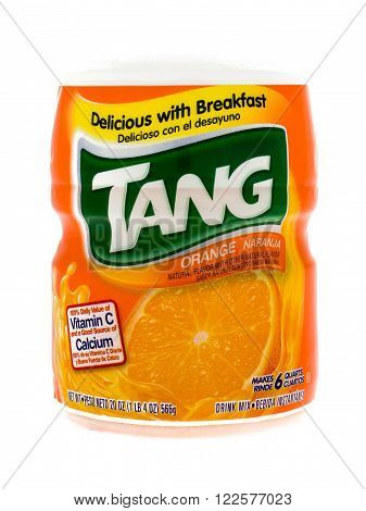 Winneconne WI - 5 February 2015: Container of Tang Orange drink mix. Tang is owned by Kraft.